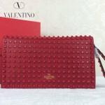 VALENTINO 015-2 奢華典雅女士紅色全皮滿天星鉚釘手拿包晚宴包