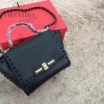 VALENTINO 014-2 潮流新款黑色原版皮中號蝙蝠包單肩包