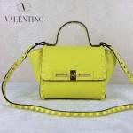 VALENTINO 013-6 歐美百搭新款熒光黃色原版皮小號蝙蝠包單肩包
