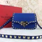 VALENTINO 011-3 歐美潮流經典款藍色原版皮鉚釘包斜挎包