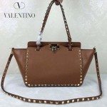 VALENTINO 06-7 歐美新款女士土黃色小號鉚釘包單肩手提包