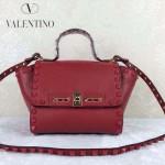 VALENTINO 013-4 歐美百搭新款紅色原版皮小號蝙蝠包單肩包