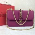 VALENTINO 08-10 高貴典雅女士紫紅色全皮鉚釘鏈條晚宴包手拿包