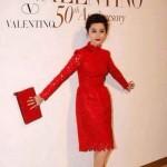 VALENTINO 016-4 明星范冰冰同款紅色全皮鉚釘手拿包晚宴包