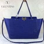 VALENTINO 024-3 高端奢華女士藍色原版皮滿天星鉚釘大號蝙蝠包