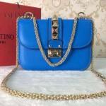 VALENTINO 010-7 秋冬新款女士藍色全皮鉚釘鏈條小號手拿包晚宴包