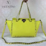 VALENTINO 06-9 歐美新款女士熒光黃色小號鉚釘包單肩手提包