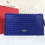 VALENTINO 015-4 奢華典雅女士熒光藍色全皮滿天星鉚釘手拿包晚宴包