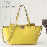VALENTINO 022-3 新款女士黃色原版皮荔枝紋鉚釘包手提單肩包