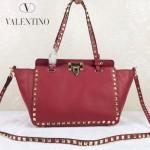 VALENTINO 06-3 歐美新款女士紅色小號鉚釘包單肩手提包