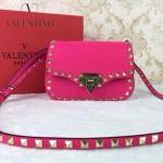 VALENTINO 011-5 歐美潮流經典款玫紅色原版皮鉚釘包斜挎包