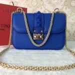 VALENTINO 010-14 秋冬新款女士熒光藍色全皮鉚釘鏈條小號手拿包晚宴包