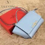 VALENTINO 01 新款潮流女士愛情海藍色原版牛皮大號蝙蝠柳釘包單肩包