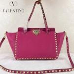 VALENTINO 06-6 歐美新款女士玫紅色小號鉚釘包單肩手提包