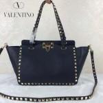 VALENTINO 06-2 歐美新款女士黑色小號鉚釘包單肩手提包