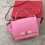 VALENTINO 014-5 潮流新款櫻花粉色原版皮中號蝙蝠包單肩包