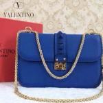 VALENTINO 08-9 高貴典雅女士熒光藍全皮鉚釘鏈條晚宴包手拿包