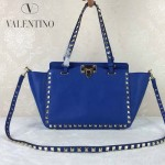 VALENTINO 06-4 歐美新款女士藍色小號鉚釘包單肩手提包