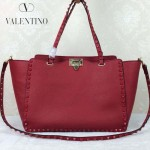 VALENTINO 021-2 潮人必備女士紅色原版皮荔枝紋大號鉚釘包手提包