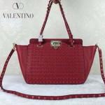 VALENTINO 023-2 潮流經典款紅色原版皮滿天星鉚釘小號手提單肩包