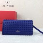 VALENTINO 019-4 前衛流行之選熒光藍色全皮滿天星鉚釘窄款手拿包
