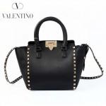 VALENTINO 1911-5 甜美淑女款黑色原版皮鉚釘元素手提單肩包