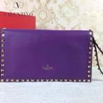 VALENTINO 016-10 秋冬新款女士紫色全皮鉚釘手拿包晚宴包