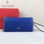 VALENTINO 020-5 人氣熱銷女士熒光藍色全皮窄款鉚釘手拿包