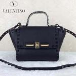 VALENTINO 013-3 歐美百搭新款黑色原版皮小號蝙蝠包單肩包