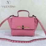 VALENTINO 013-2 歐美百搭新款櫻花粉色原版皮小號蝙蝠包單肩包