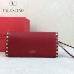 VALENTINO 020-3 人氣熱銷女士紅色全皮窄款鉚釘手拿包
