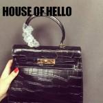 HOUSE OF HELLO-04 潮流時尚惡搞HERMES KELLY黑色鱷魚紋皮大小號手提單肩包凱莉包