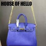 HOUSE OF HELLO-026 潮流時尚惡搞HERMES BIRKIN電光藍十字紋皮大小號手提單肩包鉑金包