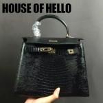 HOUSE OF HELLO-020 潮流時尚惡搞HERMES KELLY黑色蜥蜴紋皮大小號手提單肩包凱莉包