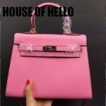HOUSE OF HELLO-014 潮流時尚惡搞HERMES KELLY櫻花粉十字紋皮大小號手提單肩包凱莉包