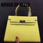 HOUSE OF HELLO-012 潮流時尚惡搞HERMES KELLY黃色十字紋皮大小號手提單肩包凱莉包