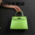 HOUSE OF HELLO-016 潮流時尚惡搞HERMES KELLY果綠色蜥蜴紋皮大小號手提單肩包凱莉包
