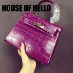 HOUSE OF HELLO-06 潮流時尚惡搞HERMES KELLY紫色鱷魚紋皮大小號手提單肩包凱莉包