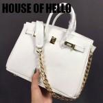 HOUSE OF HELLO-024 潮流時尚惡搞HERMES BIRKIN白色十字紋皮大小號手提單肩包鉑金包