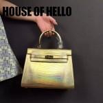 HOUSE OF HELLO-017 潮流時尚惡搞HERMES KELLY土豪金蜥蜴紋皮大小號手提單肩包凱莉包