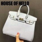 HOUSE OF HELLO-030 潮流時尚惡搞HERMES BIRKIN淺藍色十字紋皮大小號手提單肩包鉑金包