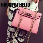 HOUSE OF HELLO-03 潮流時尚惡搞HERMES KELLY粉色鱷魚紋皮大小號手提單肩包凱莉包