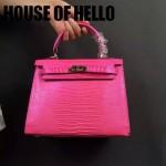 HOUSE OF HELLO-021 潮流時尚惡搞HERMES KELLY玫紅色蜥蜴紋皮大小號手提單肩包凱莉包