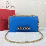 VALENTINO 1913-6 復古經典款女士藍色全皮鏈條單肩包晚宴包