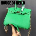 HOUSE OF HELLO-027 潮流時尚惡搞HERMES BIRKIN果綠色十字紋皮大小號手提單肩包鉑金包