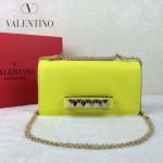 VALENTINO 1913-8 復古經典款女士熒光黃色全皮鏈條單肩包晚宴包