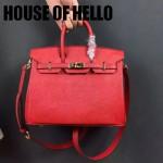 HOUSE OF HELLO-029 潮流時尚惡搞HERMES BIRKIN大紅色十字紋皮大小號手提單肩包鉑金包
