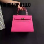 HOUSE OF HELLO-013 潮流時尚惡搞HERMES KELLY玫紅色十字紋皮大小號手提單肩包凱莉包