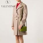 VALENTINO 1927-7 時尚潮流休閒熒光黃原版皮鉚釘方塊包單肩小包