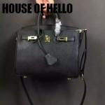 HOUSE OF HELLO-028 潮流時尚惡搞HERMES BIRKIN黑色十字紋皮大小號手提單肩包鉑金包